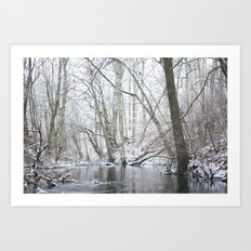 Winter forest... with a little red-hair cat:) Art Print