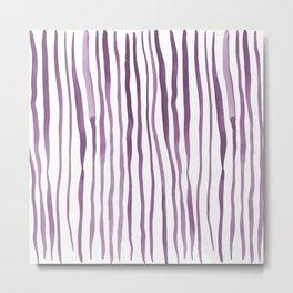 Vertical watercolor lines - purple Metal Print