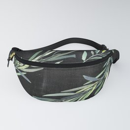 Eucalyptus leaves on chalkboard Fanny Pack