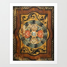 medieval wood painting Art Print