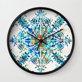 Colorful Pattern Art - Color Fusion Design 6 By Sharon Cummings Wall Clock