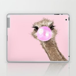 Sneaky Ostrich with Bubble Gum in Pink Laptop & iPad Skin