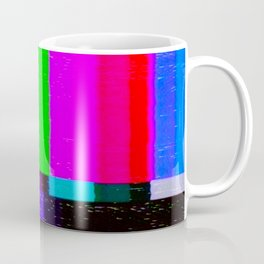 A distorted tv transmission or VHS tape, a badly eaten noisy signal of SMPTE color bars (a television screen test pattern). Vintage photo. Retro background. Coffee Mug
