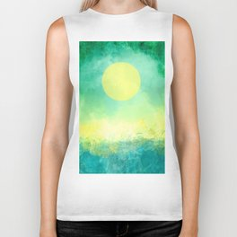 Yellow Moon, Emerald Sky, Blue Water Biker Tank