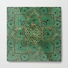 Flower of Life in Lotus - Malachite and gold Metal Print