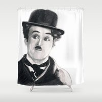 chaplin Shower Curtains featuring Charlie Chaplin by Art by Boothe
