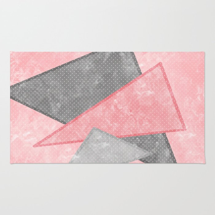 pink and grey triangles rug by katmun society6. Black Bedroom Furniture Sets. Home Design Ideas