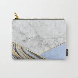Geometric White Marble - Blue Marble & Light Blue #368 Carry-All Pouch