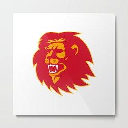 angry lion head roaring Metal Print