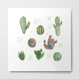 Cactus and Triangles Metal Print