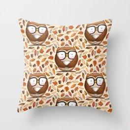 Seamless Owl Pattern Throw Pillow