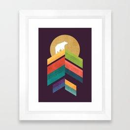 Lingering mountain with golden moon Framed Art Print