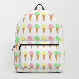 Vanilla, Mint, and Strawberry Ice Cream Cone Pattern Backpack