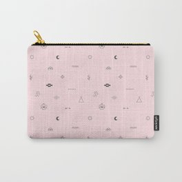 Southwestern Symbolic Pattern in Pale Pink & Charcoal Carry-All Pouch