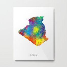 Algeria Watercolor Map Metal Print