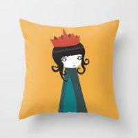 queen Throw Pillows featuring Queen by Volkan Dalyan