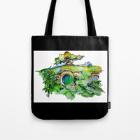 the hobbit Tote Bags featuring hobbit hole by Jonny Moochie