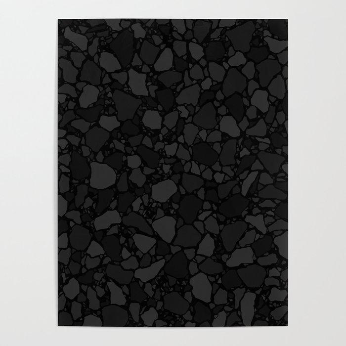 Black Terrazzo Flooring Pattern Digital Illustration Poster By Leavector