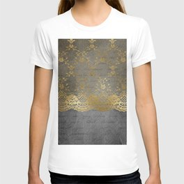 Pure elegance I- gold glitter luxury lace on black grunge background T-shirt