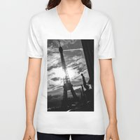 eiffel V-neck T-shirts featuring Eiffel by Nat Alonso