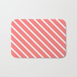 Watermelon Pink Diagonal Stripes Bath Mat