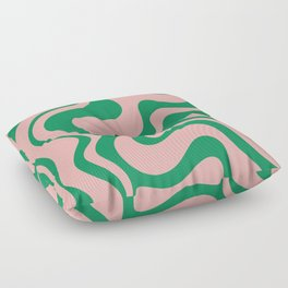 Liquid Swirl Retro Abstract Pattern in Pink and Bright Green Floor Pillow