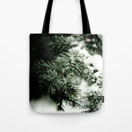 Evergreen and white Tote Bag