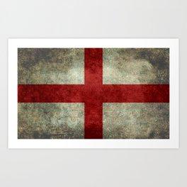 Flag of England (St. George's Cross) Vintage retro style Art Print