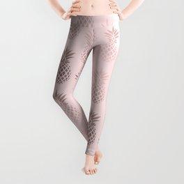 Girly rose gold & blush pink pineapple pattern Leggings