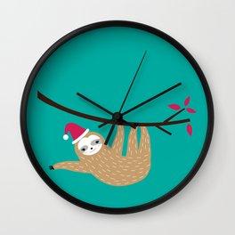 Merry Slothmas Wall Clock