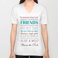winnie the pooh V-neck T-shirts featuring Winnie the Pooh Friendship Quote - Red & Teal by Jaydot Creative