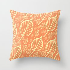 Orange Autumn Leaf Design  Throw Pillow