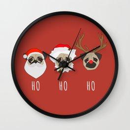 Ho Ho Ho Pugs Wall Clock