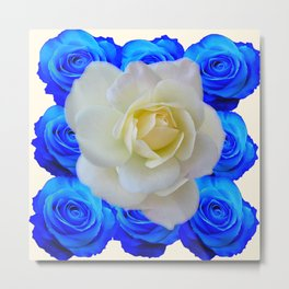 DECORATIVE WHITE & BLUE ROSES GARDEN ART Metal Print