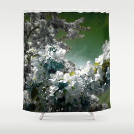 Flowers Teal Green White Shower Curtain
