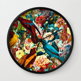 FLORAL AND BIRDS XV Wall Clock