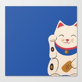 Blue Lucky Cat Maneki Neko Canvas Print