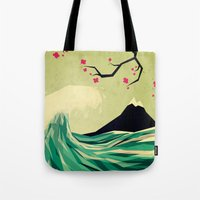 Tote Bags featuring falling in love by Yetiland
