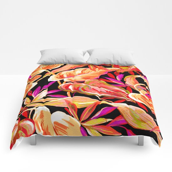 fall tropical leaves Comforters