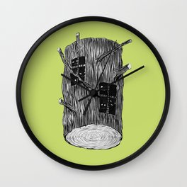 Mysterious Forest Creatures In Tree Log Wall Clock