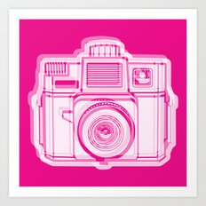 I Still Shoot Film Holga Logo - Reversed Pink Art Print