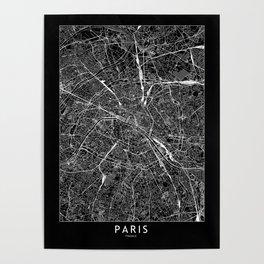 Paris Black Map Poster