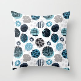 Blue Pebbles Throw Pillow