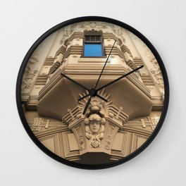 Looking up at stunning Art Nouveau architecture in Riga Wall Clock