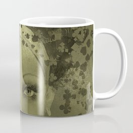 Abstract  Female Face with  card suits Coffee Mug