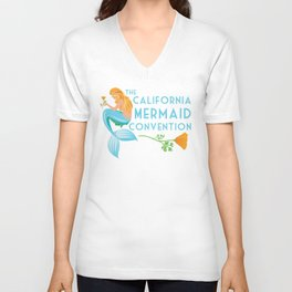 Poster Art ·•· California Mermaid Convention Unisex V-Neck