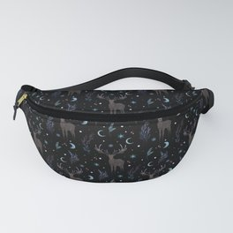 Deer in Winter Night Forest Fanny Pack