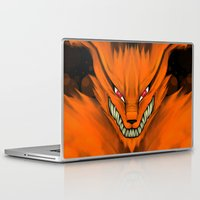 sasuke Laptop & iPad Skins featuring Kyubi Nine Tails by Inara