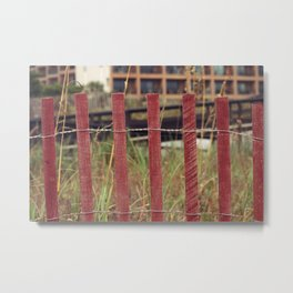 The Red Fence Metal Print