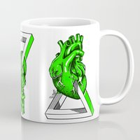 anatomical heart Mugs featuring Green Anatomical heart  by Mia Hawk